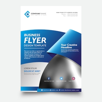 Creative flyer template, with ribbon blue background