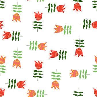 創造的な民芸パターン。オレンジ色の花。花の自然の壁紙。フォークロアスタイル。生地のデザイン、テキスタイルプリント、ラッピング、カバーに。簡単なベクトルイラスト。