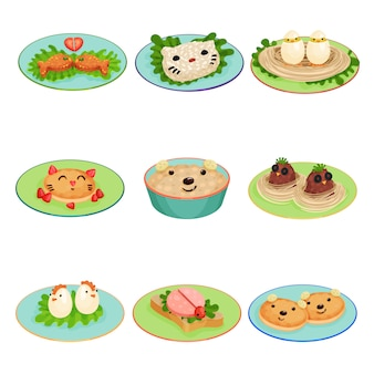동물과 조류의 모양에 아이들을위한 창조적 인 음식은 흰색 배경에 그림을 설정