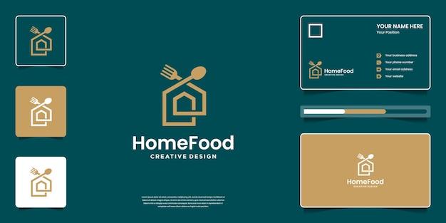 명함으로 창의적인 음식 로고 디자인