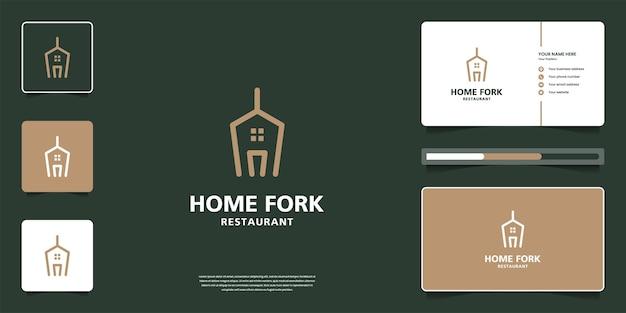 집과 포크 조합으로 창의적인 음식 로고 디자인