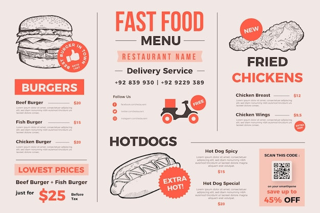 Creative food menu for digital use