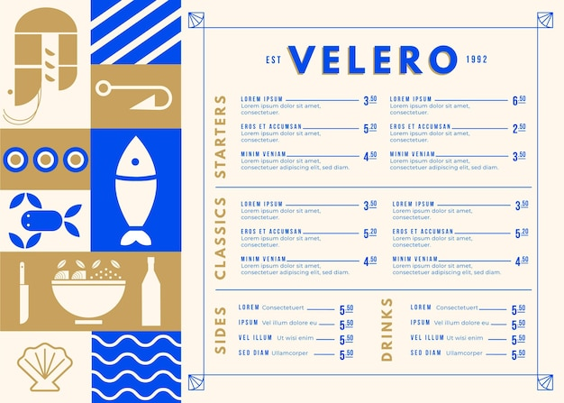 Креативное меню еды для шаблона цифрового использования