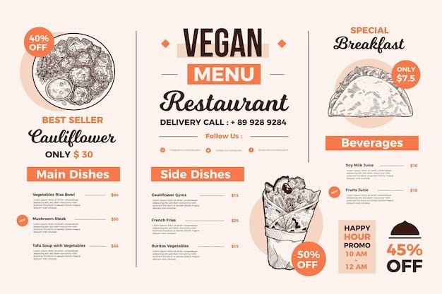 일러스트레이션과 함께 디지털 사용을위한 창의적인 음식 메뉴