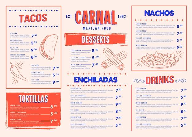 Иллюстрированный шаблон креативного меню еды для цифрового использования