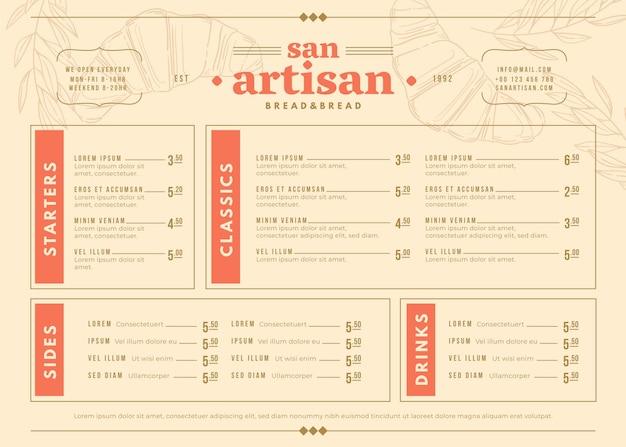 삽화와 함께 디지털 사용을위한 창의적인 음식 메뉴 템플릿