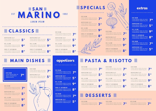 디지털 사용을위한 창의적인 음식 메뉴 템플릿