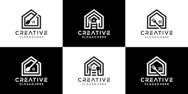クリエイティブフードショップロゴアイコンセット組み合わせアートラインスタイルのロゴテンプレート