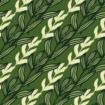 緑の背景にシームレスなパターンの葉を持つ創造的な森の枝。美しい葉の背景。自然の壁紙。生地のデザイン、テキスタイルプリント、ラッピング、カバーに。ベクトルイラスト。