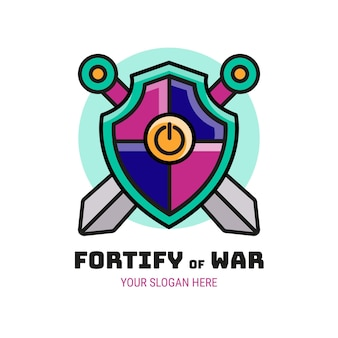 Fortify of war logo di gioco creativo
