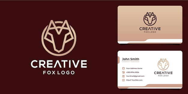 モノラインスタイルと名刺でクリエイティブなキツネのロゴデザイン