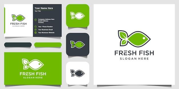 Вдохновение для дизайна логотипа creative fresh fish. логотип дан визитка