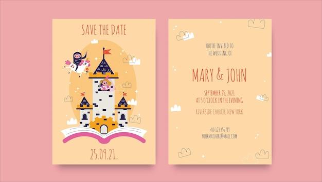 創造的な面白いファンタジーをテーマにした結婚式の招待状