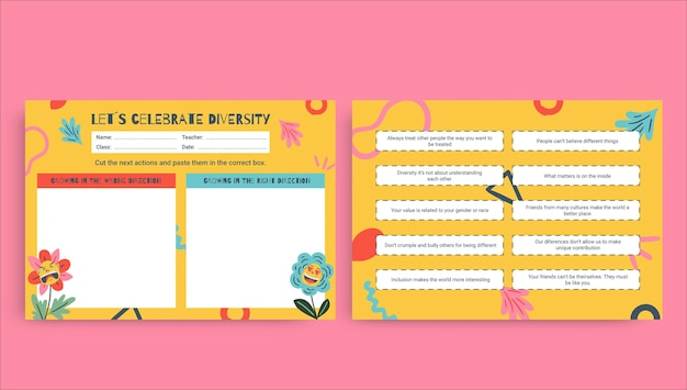 Creative funny let's celebrate diversity worksheet