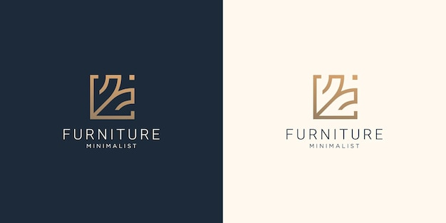 クリエイティブな家具のデザインテンプレート。家具のロゴのインスピレーションのための最小限のコンセプトラインスタイル