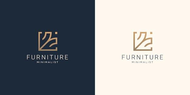 Creative furniture design template. minimal concept line style for furniture logo inspiration
