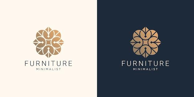 抽象的な線の形をしたクリエイティブな家具のロゴデザイン。インテリア、家具テンプレートのインスピレーション。