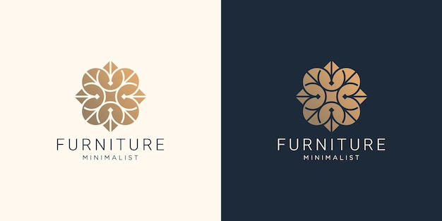 Creative furniture logo design with abstract line shape.inspiration for interior,furniture template.