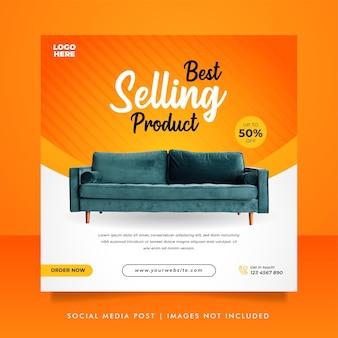Creative furniture sale banner or social media post template