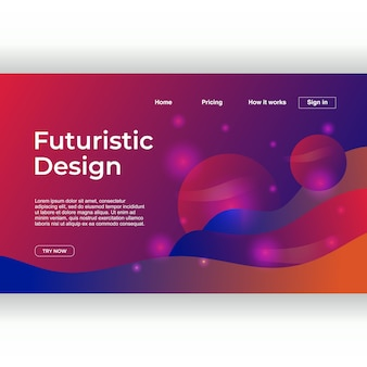 Creative futuristic design of landing page template