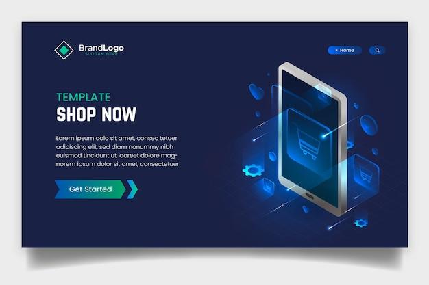 Pagina di destinazione online shopping futuristico creativo