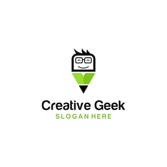 Карандаш creative geek logo