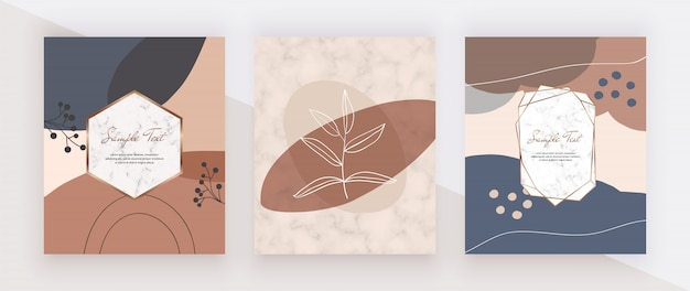 Creative geometric abstract hand painting  nude, pink, blue and brown shapes with marble and golden polygonal lines frames.