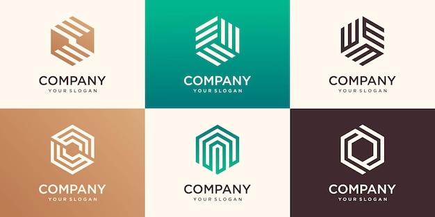 ストライプのコンセプト、現代の会社のビジネスロゴテンプレートと創造的な幾何学的な六角形のロゴデザイン