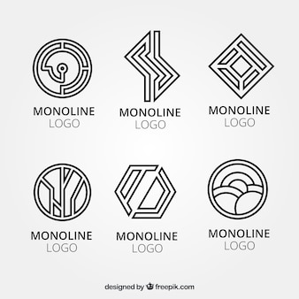 Creative geometric logos in monoline style