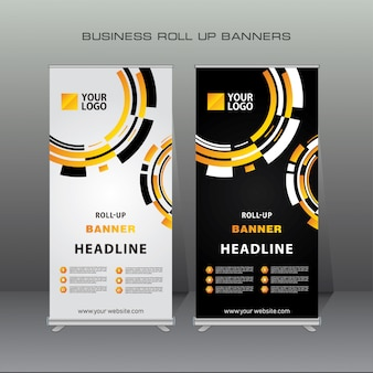 Creative geometric roll up banner design template