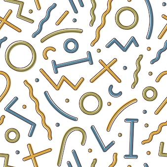 Творческий геометрический бесшовный образец с красочными фигурами и линиями на белом