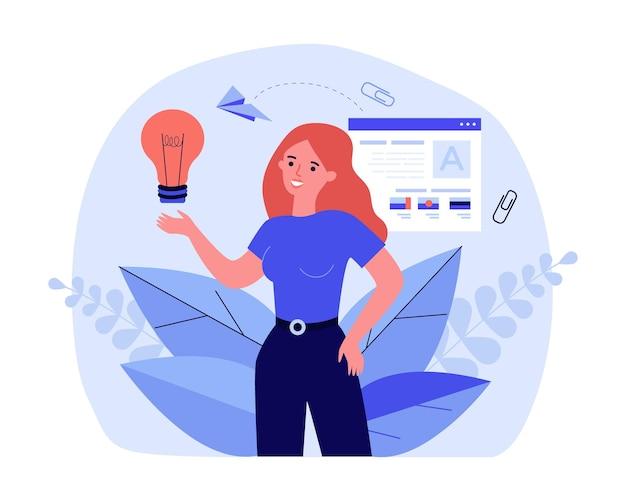 Творческая девушка, полная идей, ищет работу. плоские векторные иллюстрации. женщина, держащая лампочку с портфелем и завершенными проектами на фоне. творчество, вдохновение, профессия, концепция работы