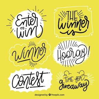 Creative giveaway lettering collection for contests