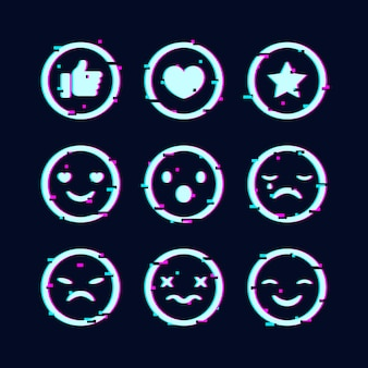 Creative glitch emojis collection