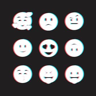 Set di emoji glitch creativi