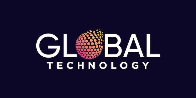 Creative global logo design technology with circle concept premium vector