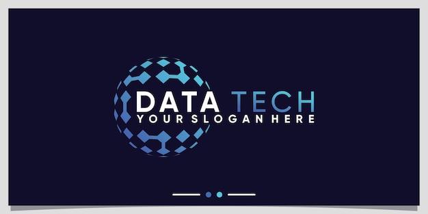 Creative globe technology logo design template with modern style concept premium vector