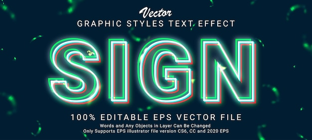 Creative glowing red green white outlines text style effect