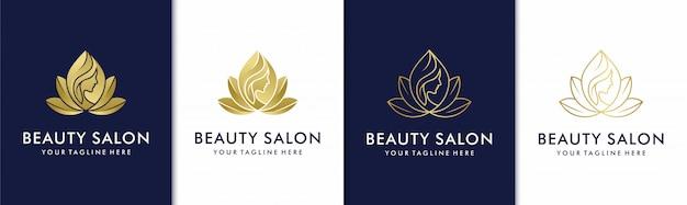 Creative golden beauty salon spa logo set