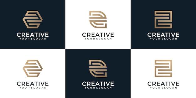 크리에이 티브 황금 편지 z 기하학적 로고 디자인 영감