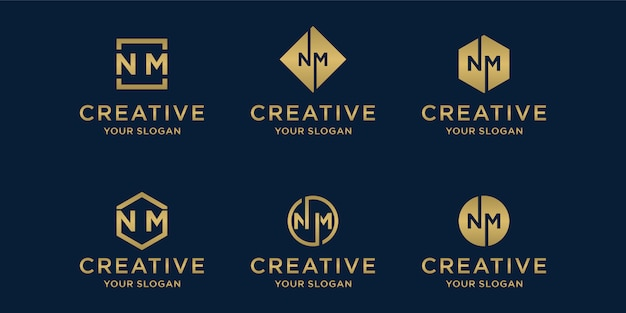 Creative golden logo template. letter n and m logo set