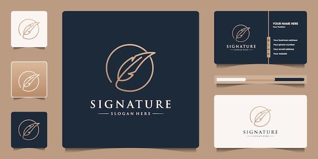 미니멀한 깃털 잉크 로고 템플릿을 사용한 창의적인 황금 퀼 서명 로고 디자인