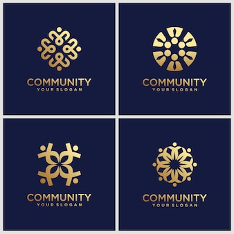 Creative golden symbols working as team & cooperating. this   logo template can represent unity and solidarity in group or team of people.
