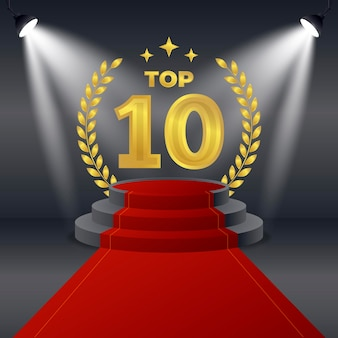 Creative golden top ten best podium award