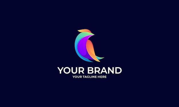 Творческий градиент птица красочный логотип