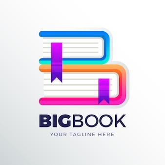 Креативный градиентный шаблон логотипа книги