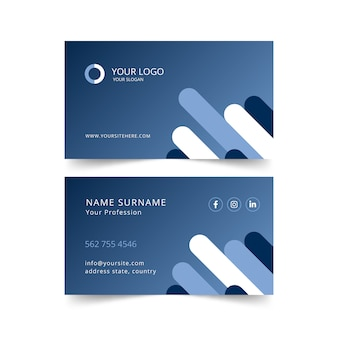 Творческий градиент визитная карточка с фигурами в плоском дизайне