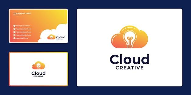 전구 개념이 있는 창의적인 그라데이션 클라우드 로고 디자인 및 명함,