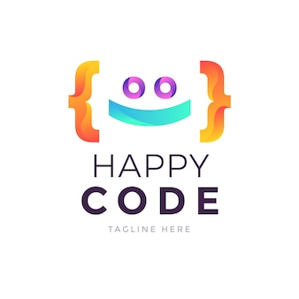 クリエイティブなグラデーションコードのロゴテンプレート