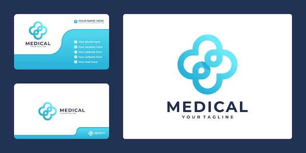 Creative gradient cross plus medical logo icon design and business card
